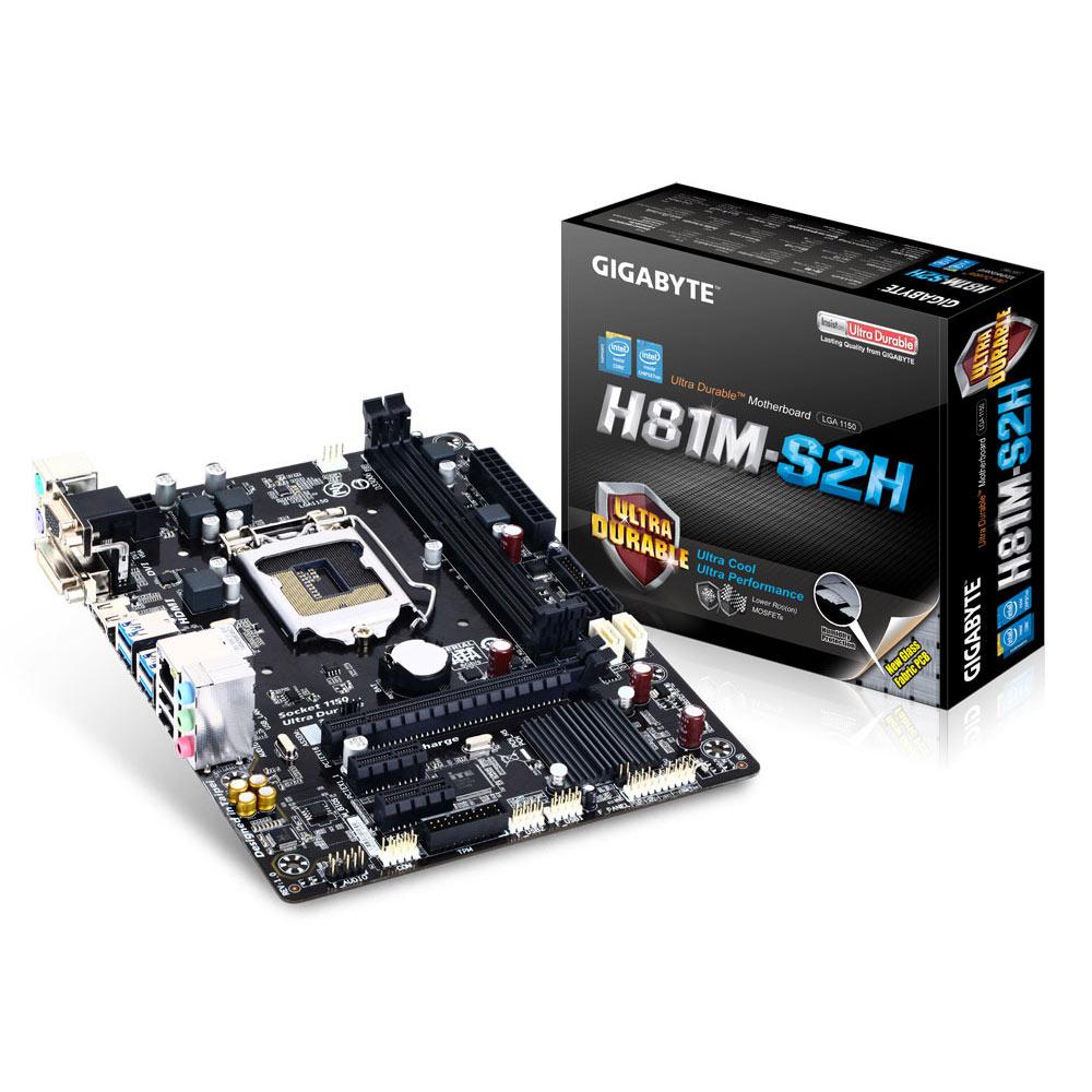 Carte mère Gigabyte GA-H81M-S2H Carte mère Micro ATX Socket 1150 Intel H81 Express - SATA 6Gb/s - USB 3.0 - 1x PCI-Express 2.0 16x