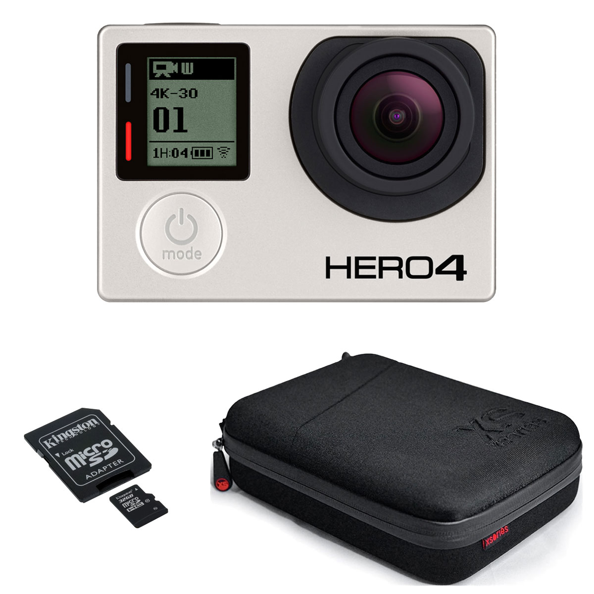 gopro hero 4 black edition xsories capxule kingston microsdhc 32 go cam ra sportive. Black Bedroom Furniture Sets. Home Design Ideas