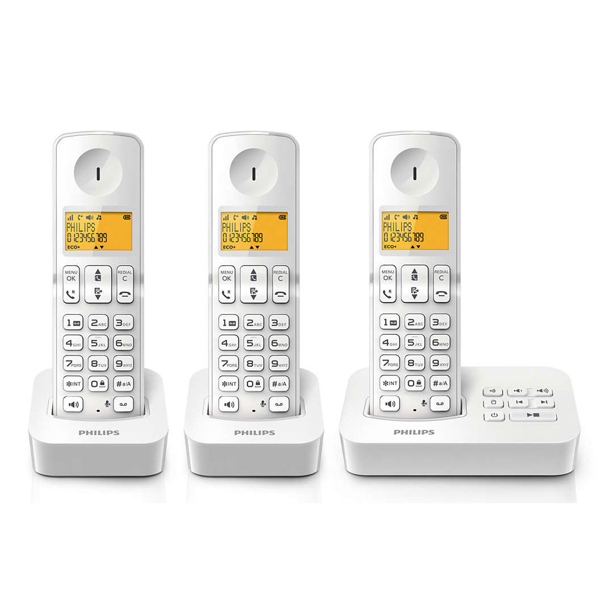 philips d2153w fr trio blanc t l phone sans fil philips. Black Bedroom Furniture Sets. Home Design Ideas