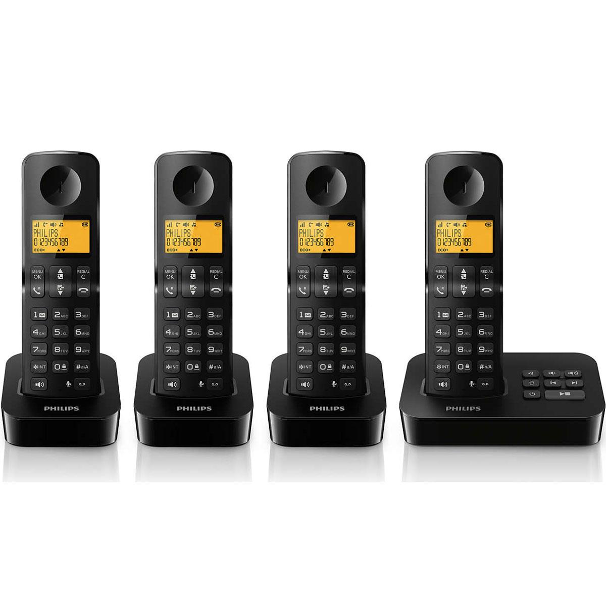 Téléphone sans fil Philips D2154B/FR Quattro Noir Téléphone DECT sans fil avec répondeur et 3 combinés supplémentaires (version française)