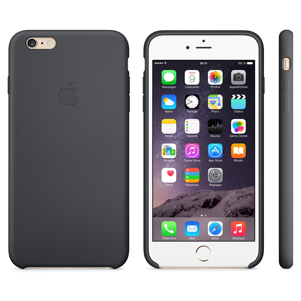 apple coque en silicone noir apple iphone 6 plus etui t l phone apple sur ldlc. Black Bedroom Furniture Sets. Home Design Ideas