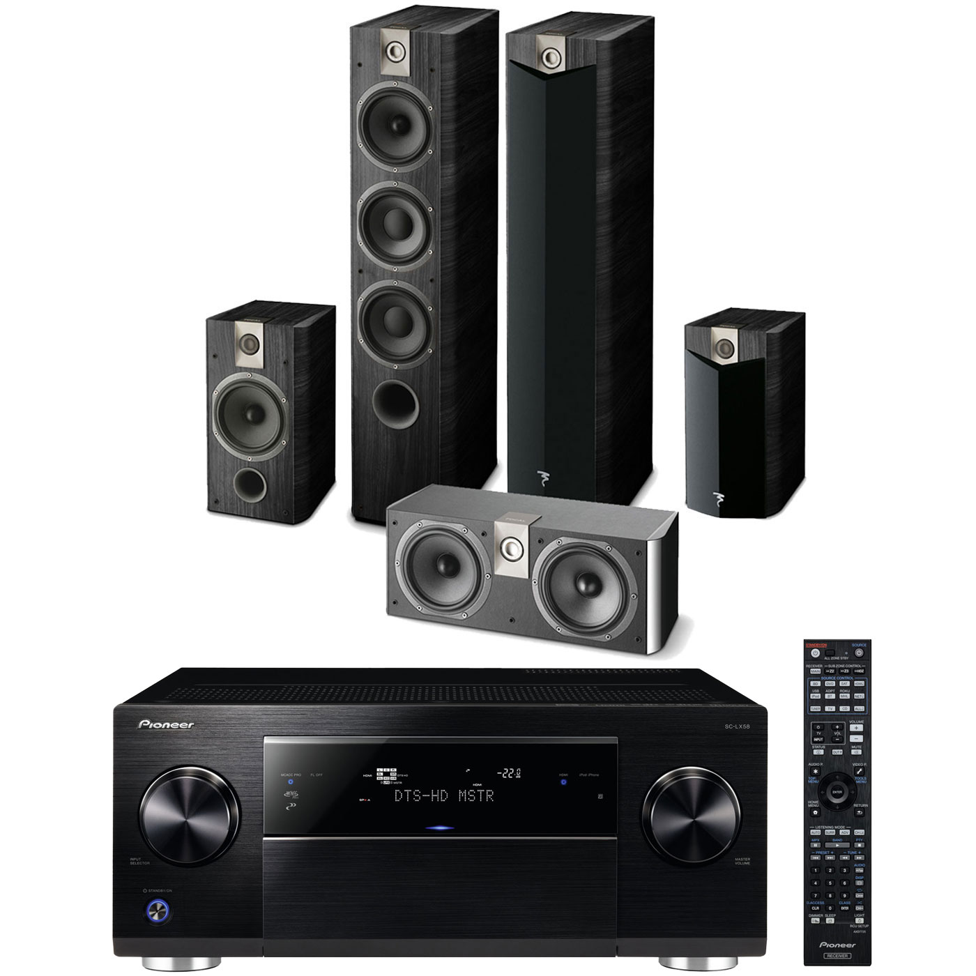 pioneer sc lx58k noir focal chorus 727 v2 706 v2 cc 700 pioneer sc lx58k focal 727v. Black Bedroom Furniture Sets. Home Design Ideas