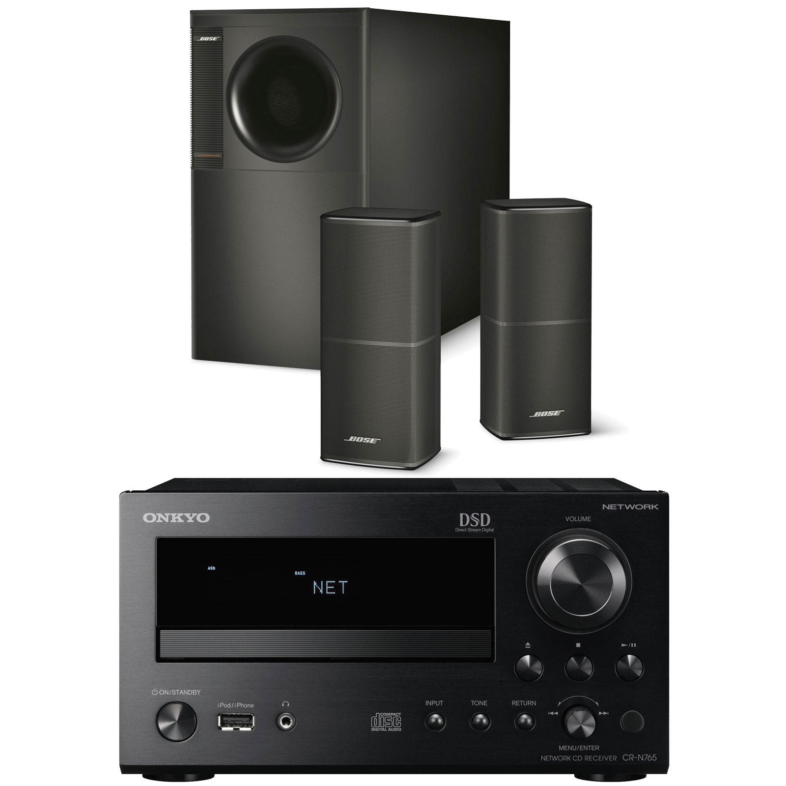 onkyo cr n765 noir bose acoustimass 5 series v noir. Black Bedroom Furniture Sets. Home Design Ideas