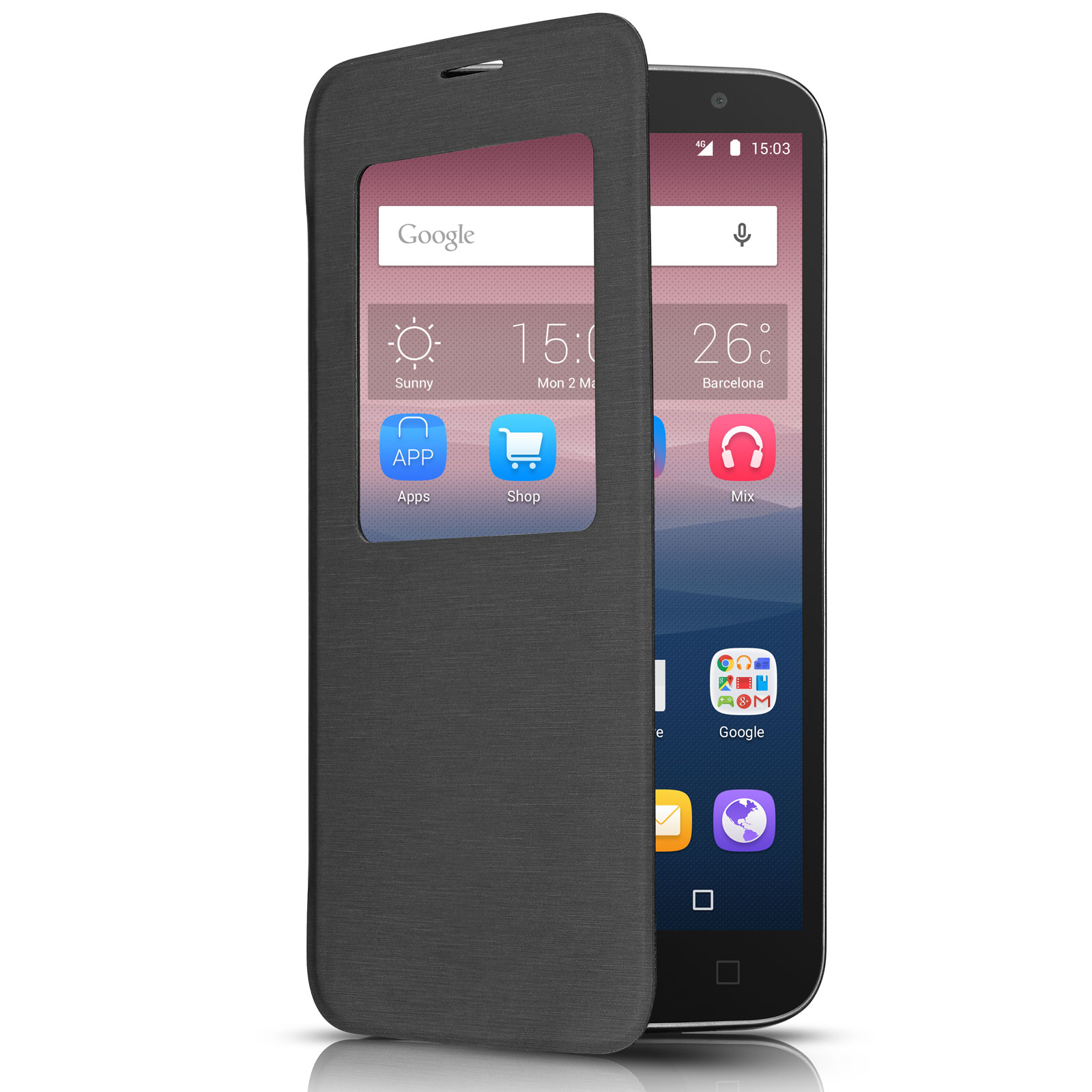 "Etui téléphone Alcatel One Touch Flip Cover Gris Alcatel Idol 3 4.7"" Etui folio pour Alcatel Idol 3 4.7"""