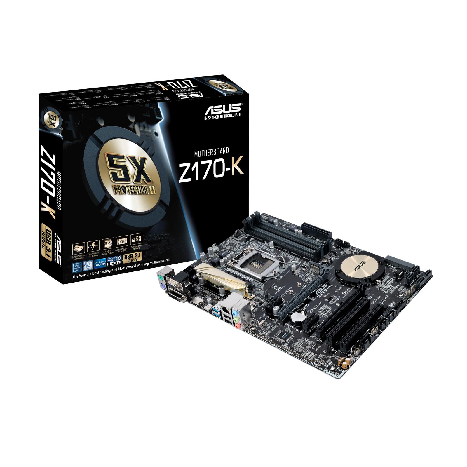 Carte mère ASUS Z170-K Carte mère ATX Socket 1151 Intel Z170 Express - SATA 6Gb/s + SATA Express + M.2 - USB 3.1 - 2x PCI-Express 3.0 16x