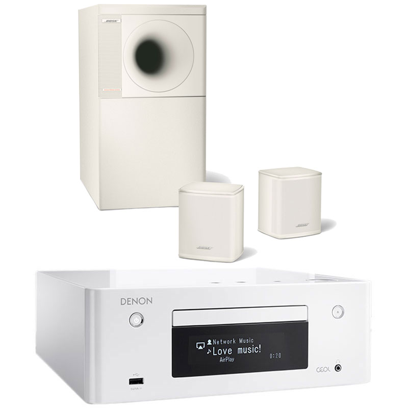 Chaîne Hifi Denon CEOL N9 Blanc + Bose Acoustimass 3 Series V Blanc Micro-chaîne CD MP3 USB réseau Wi-Fi Bluetooth DLNA avec contrôle iOS et Android + Ensemble d'enceintes stéréo 2.1