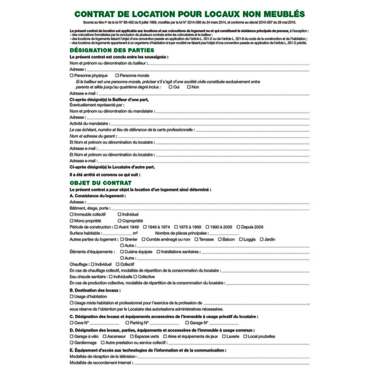 Exacompta contrat de location de locaux vacants registre - Contrat de location locaux vacants non meubles ...
