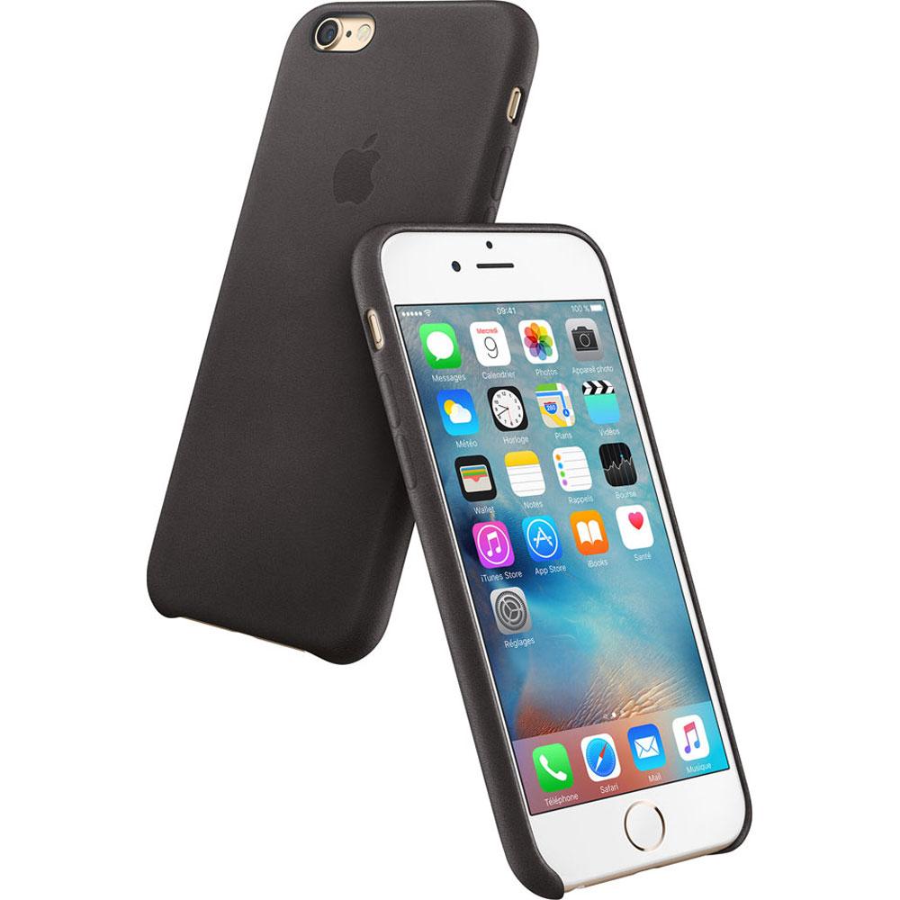 Etui téléphone Apple Coque en cuir Noir Apple iPhone 6s Coque en cuir pour Apple iPhone 6s