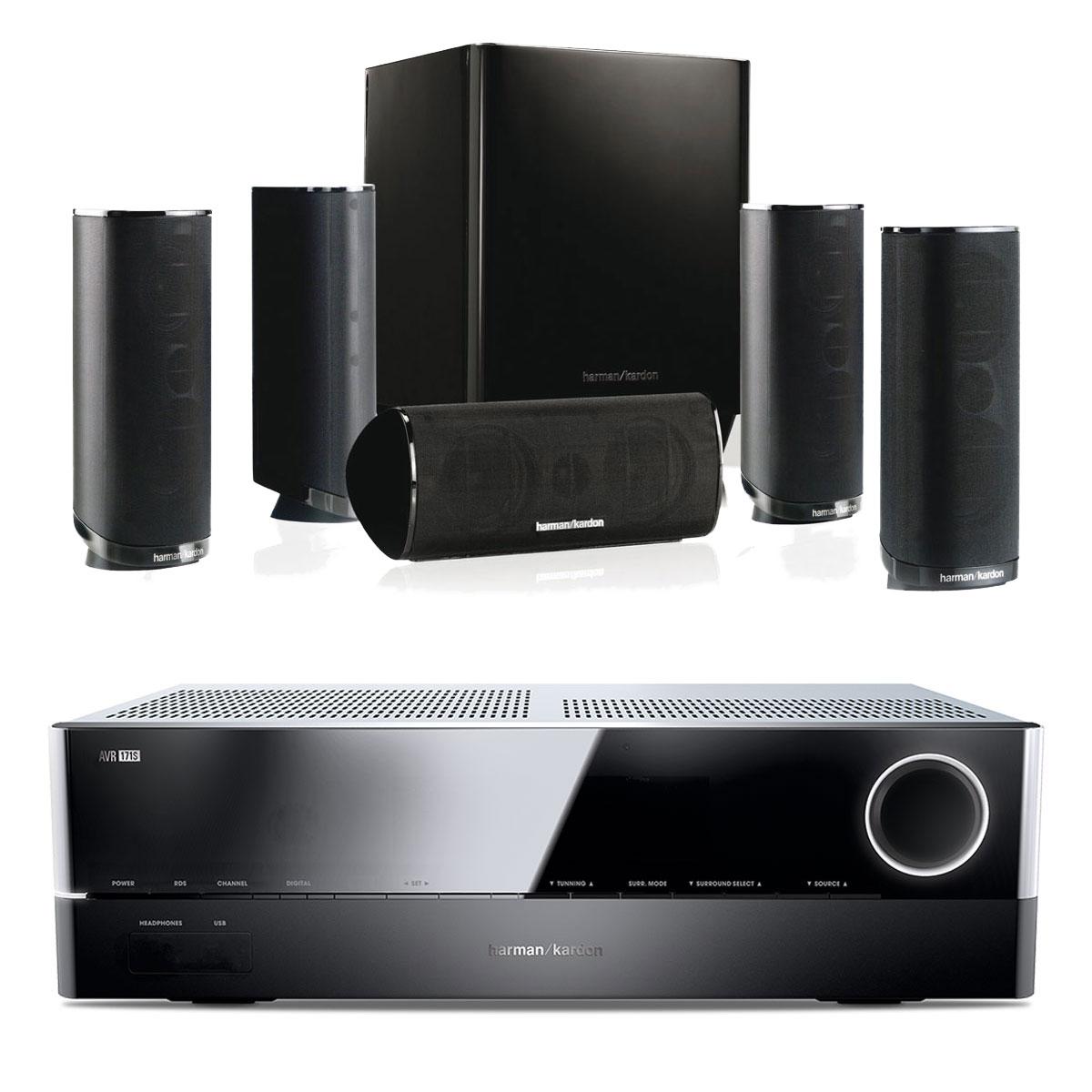 Ensemble home cinéma Harman Kardon AVR 171S + Harman Kardon HKTS 16 Amplificateur 7.2 - 100 W DLNA Bluetooth Spotify HDMI + Pack d'enceintes 5.1