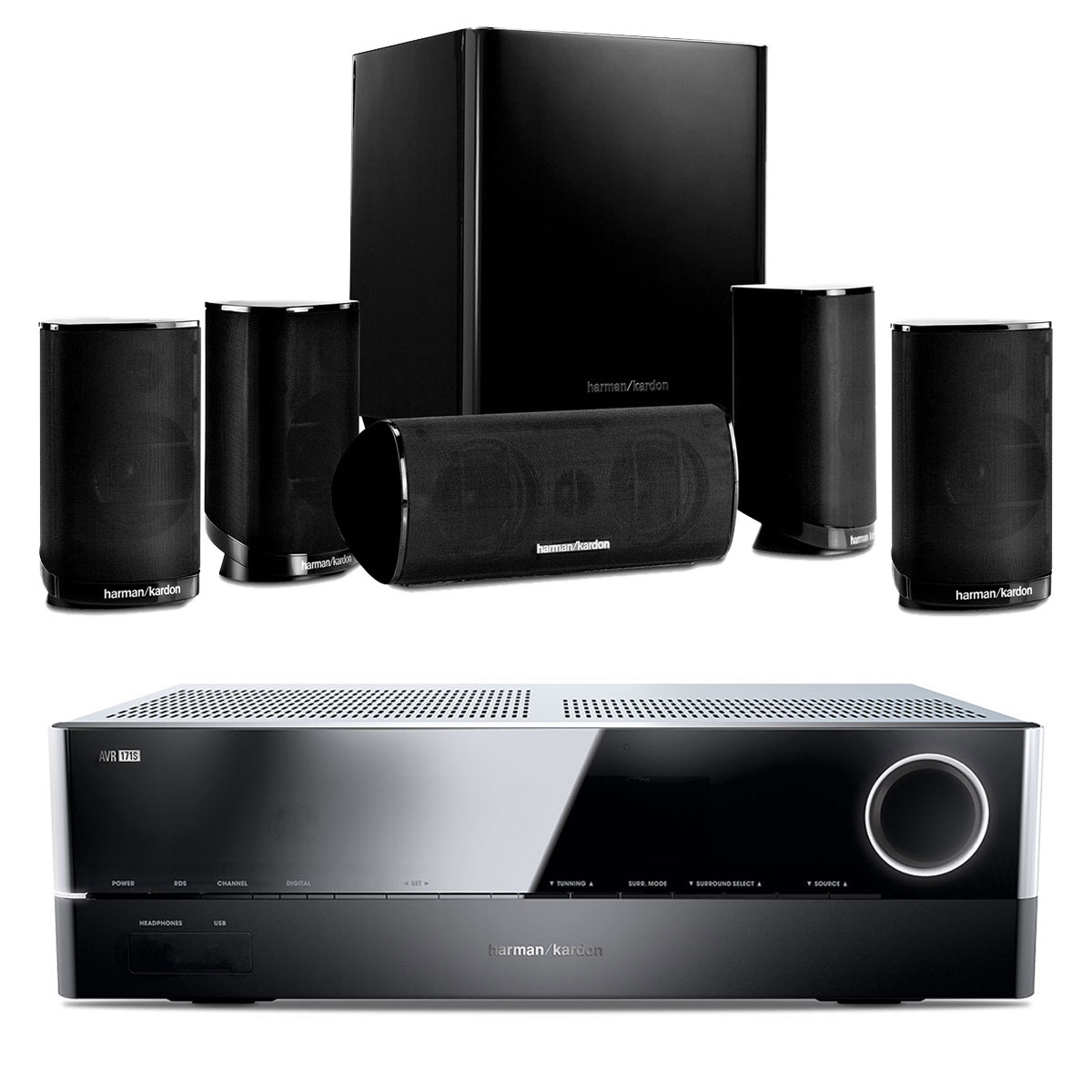 Ensemble home cinéma Harman Kardon AVR 171S + Harman Kardon HKTS 9 Amplificateur 7.2 - 100 W DLNA Bluetooth Spotify HDMI + Pack d'enceintes 5.1 compactes avec caisson de basses actif