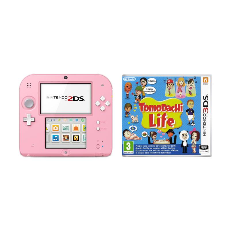 Nintendo 2ds blanche et rose tomodachi life nintendo sur ldlc - Console de jeux portable tactile ...
