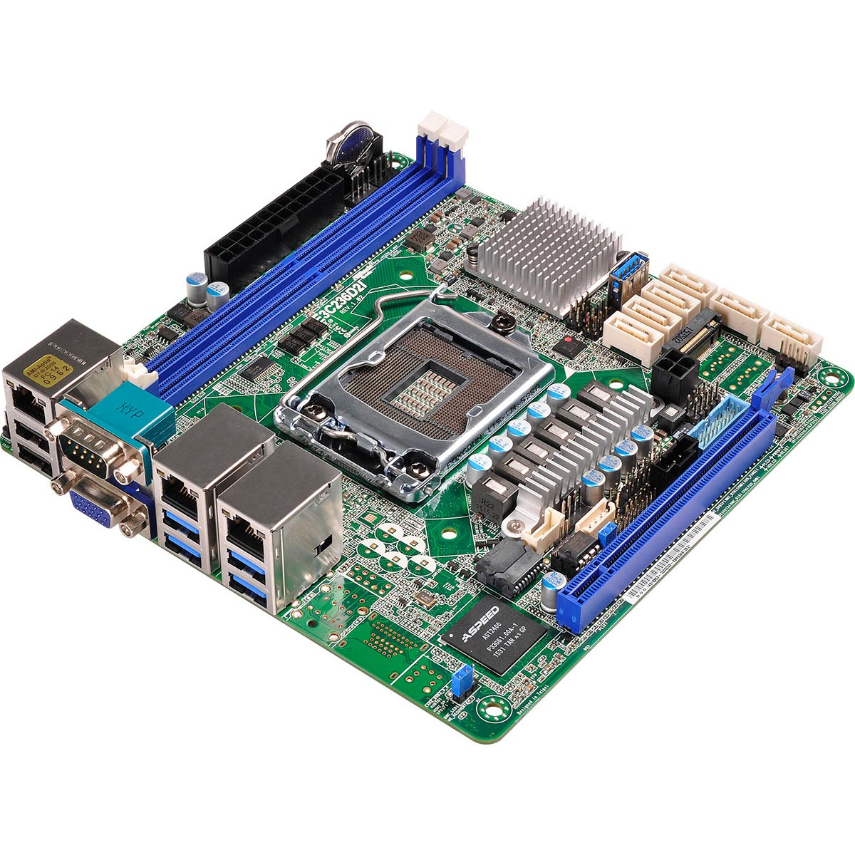 Carte mère ASRock E3C236D2I Carte mère Mini ITX Socket 1151 Intel C236 - SATA 6Gb/s - 1x PCI Express 3.0 16x - 2x Gigabit LAN + 1x RJ 45 Management