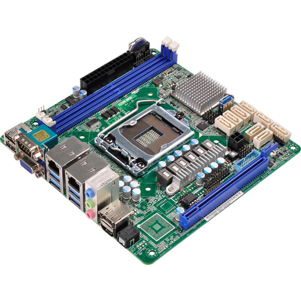 Carte mère ASRock C236 WSI Carte mère Mini ITX Socket 1151 Intel C236 - SATA 6Gb/s - 1x PCI Express 3.0 16x - 2x Gigabit LAN