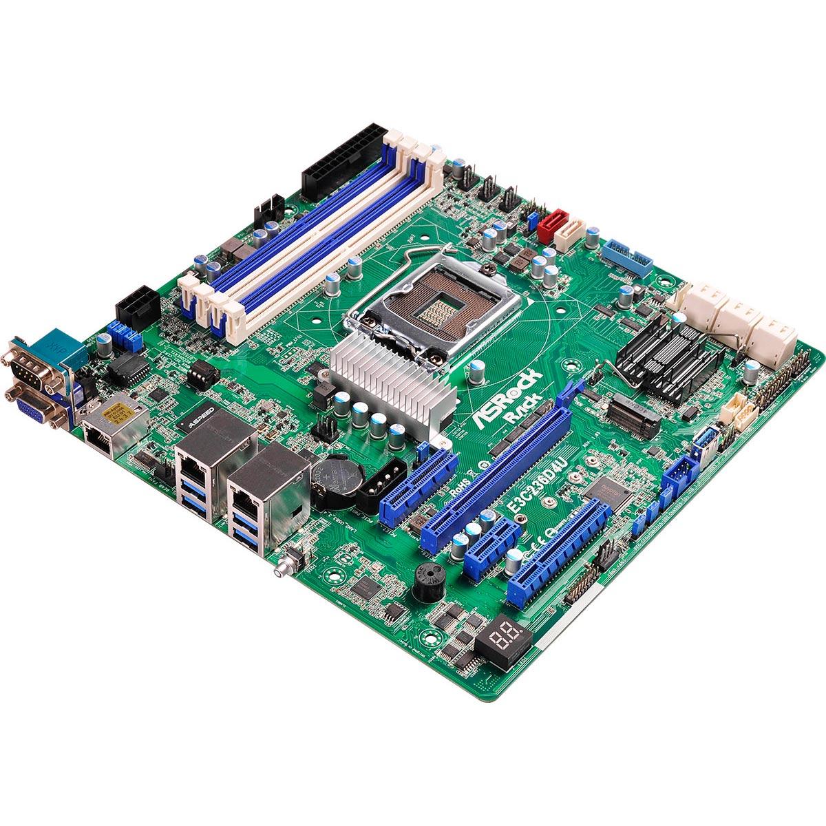 Carte mère ASRock E3C236D4U Carte mère Micro ATX Socket 1151 Intel C236 - SATA 6Gb/s - M.2 - 1x PCI Express 3.0 16x - 2x Gigabit LAN + 1 RJ45 Management