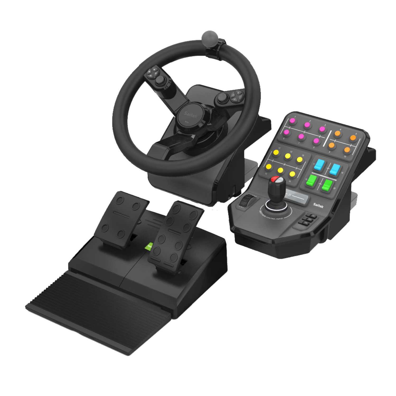 Volant PC Logitech G Saitek Farming Simulator Controller Ensemble complet de simulation (volant + pédalier + panneau de contrôle)
