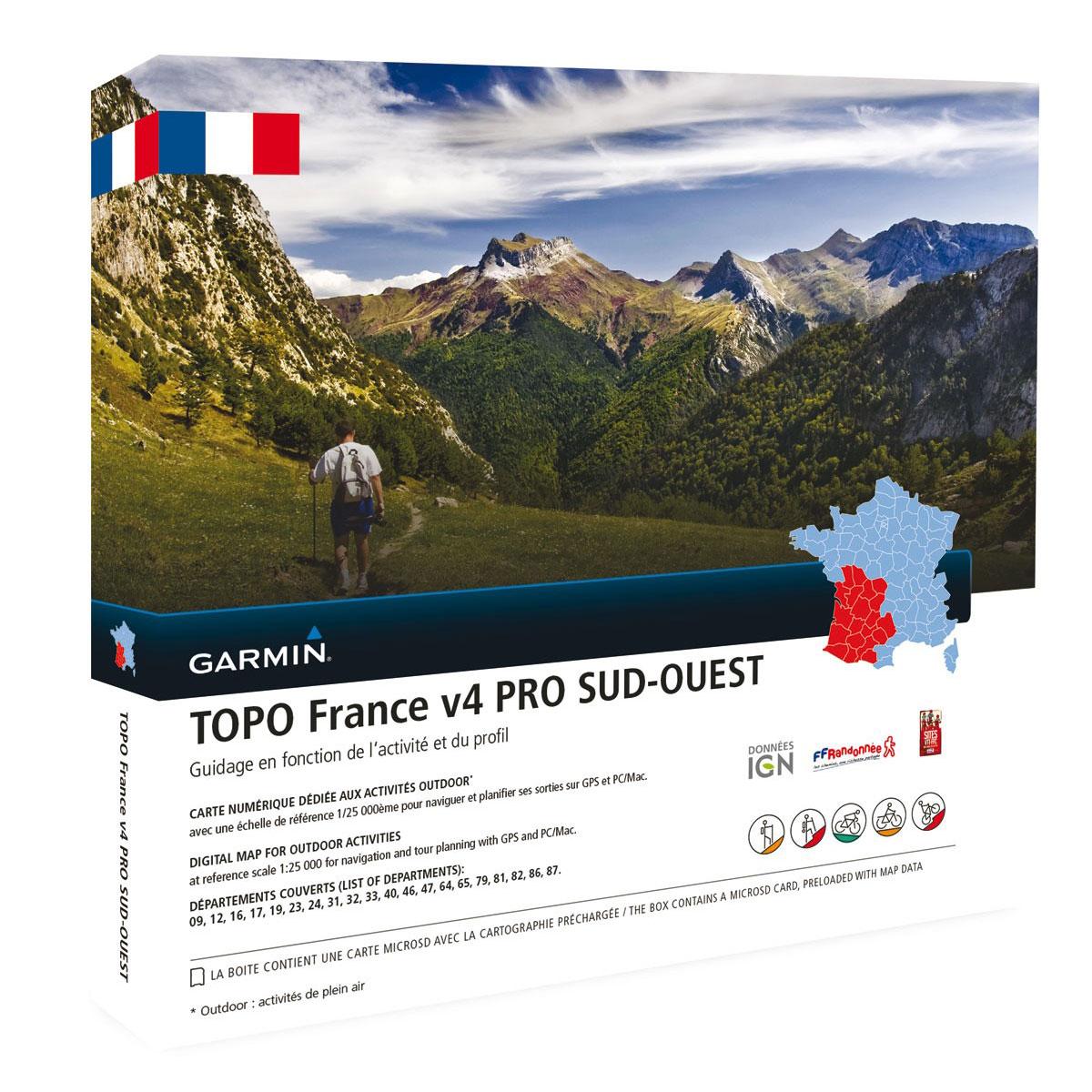 Accessoires GPS Garmin TOPO France v4 Pro - Sud Ouest Carte de randonnée préchargée sur carte microSD