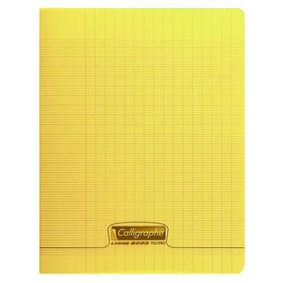 Cahier Calligraphe 8000 Polypro Cahier 96 pages 17 x 22 cm seyes grands carreaux Jaune Cahier 96 pages 90g A5+ en reliure piquée avec couverture en polypropylène