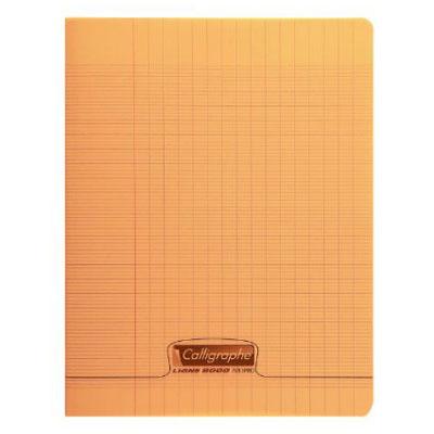 Cahier Calligraphe 8000 Polypro Cahier 96 pages 17 x 22 cm seyes grands carreaux Orange Cahier 96 pages 90g A5+ en reliure piquée avec couverture en polypropylène