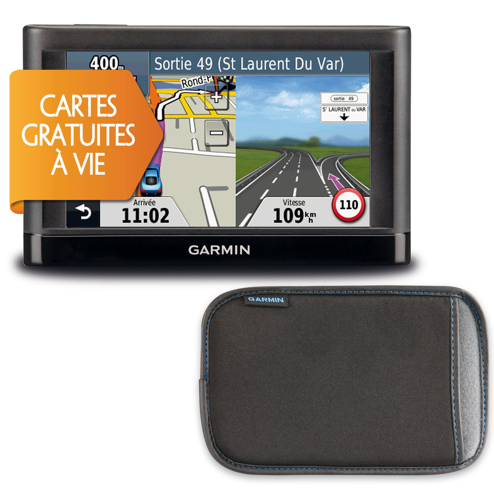 "GPS Garmin nüvi 52 LM + Housse GPS 24 pays d'Europe avec écran 5"" + Housse"