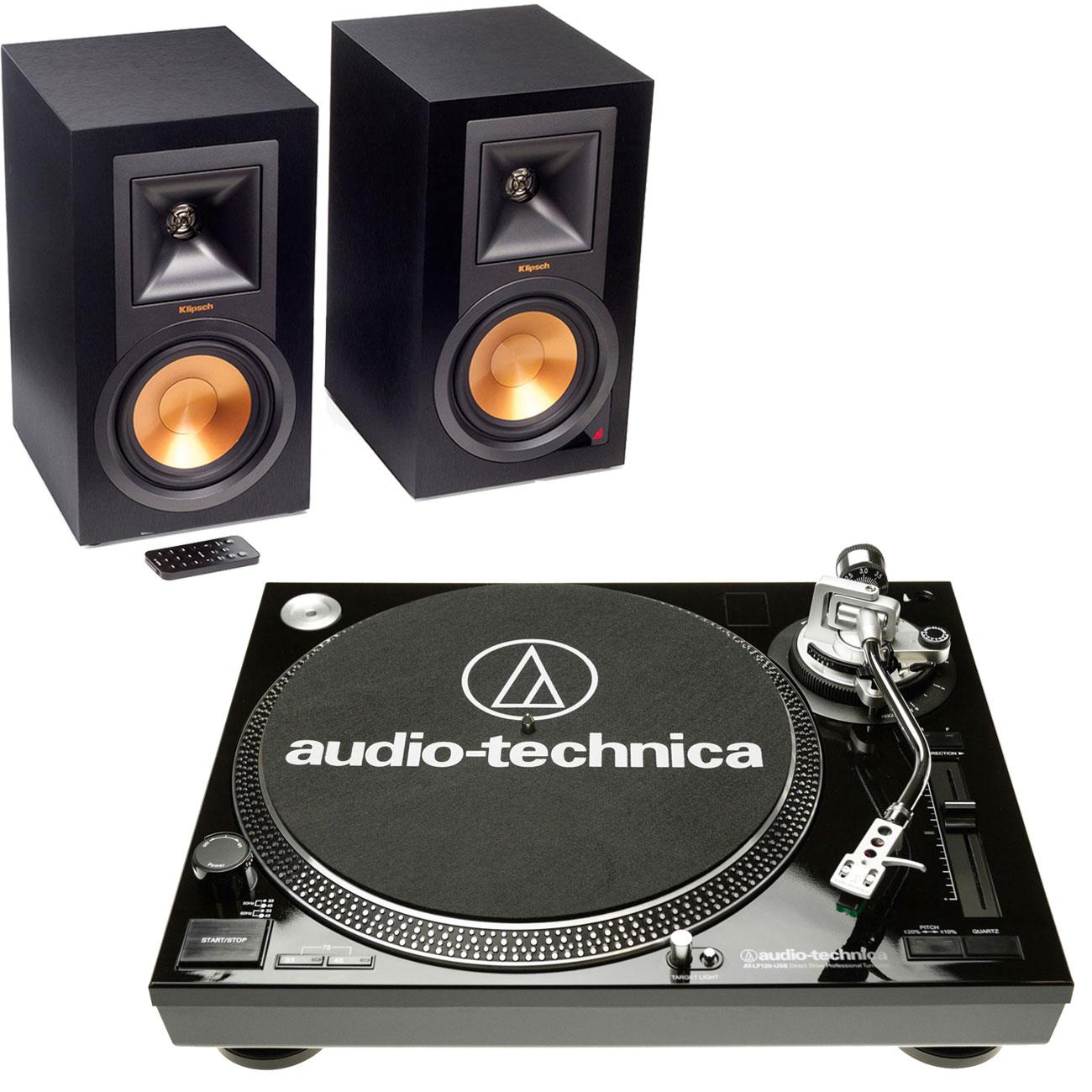 Platine vinyle Audio-Technica AT-LP120USBC Noir + Klipsch R-15PM Platine vinyle à 3 vitesses (33-45-78 trs/min) avec port USB + Enceinte bibliothèque (par paire)