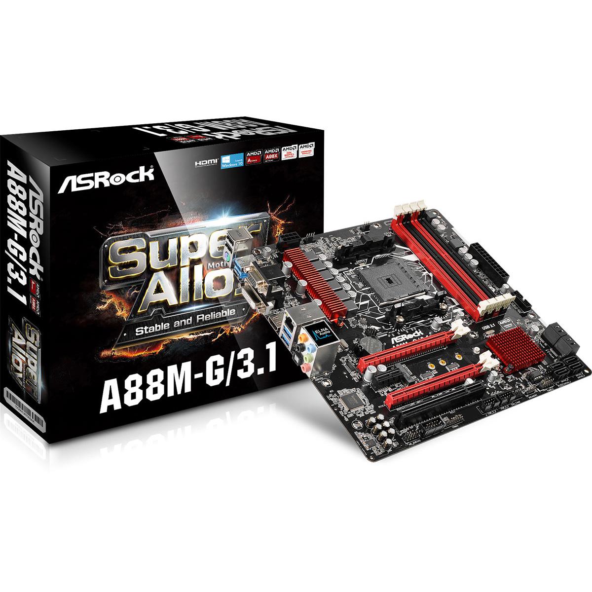 Carte mère ASRock A88M-G/3.1 Carte mère Micro ATX Socket FM2+ AMD A88X - SATA 6 Gbps - USB 3.1 - 2x PCI-Express 3.0 16x