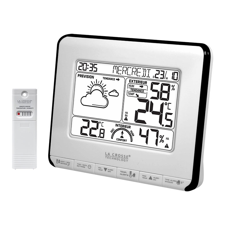 La crosse technology ws6818 blanc station m t o la for Station meteo temperature interieure et exterieure