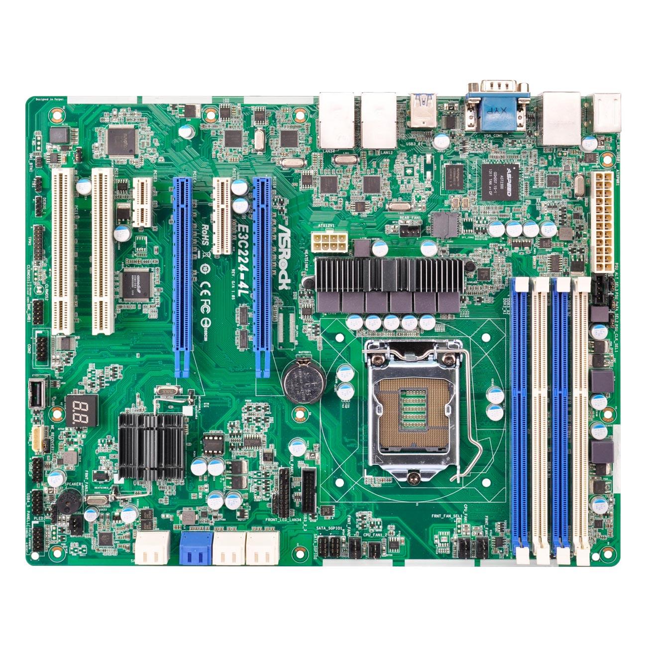 Carte mère ASRock E3C224-4L Carte mère ATX Socket 1150 Intel C224 Aspeed AST2300 - 6x SATA 6Gb/s - 2x PCI Express 3.0 16x - 4 x Gigabit LAN