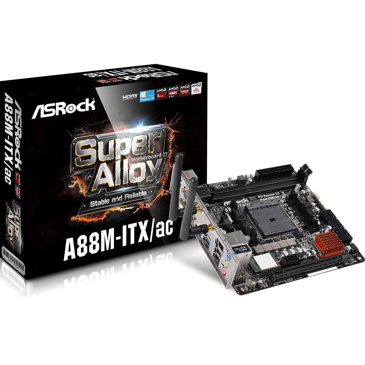 Carte mère ASRock A88M-ITX/ac Carte mère Mini ITX Socket FM2+ AMD A88X - SATA 6 Gbps - USB 3.0 - Wi-Fi AC/Bluetooth 4.0 - 1x PCI-Express 3.0 16x