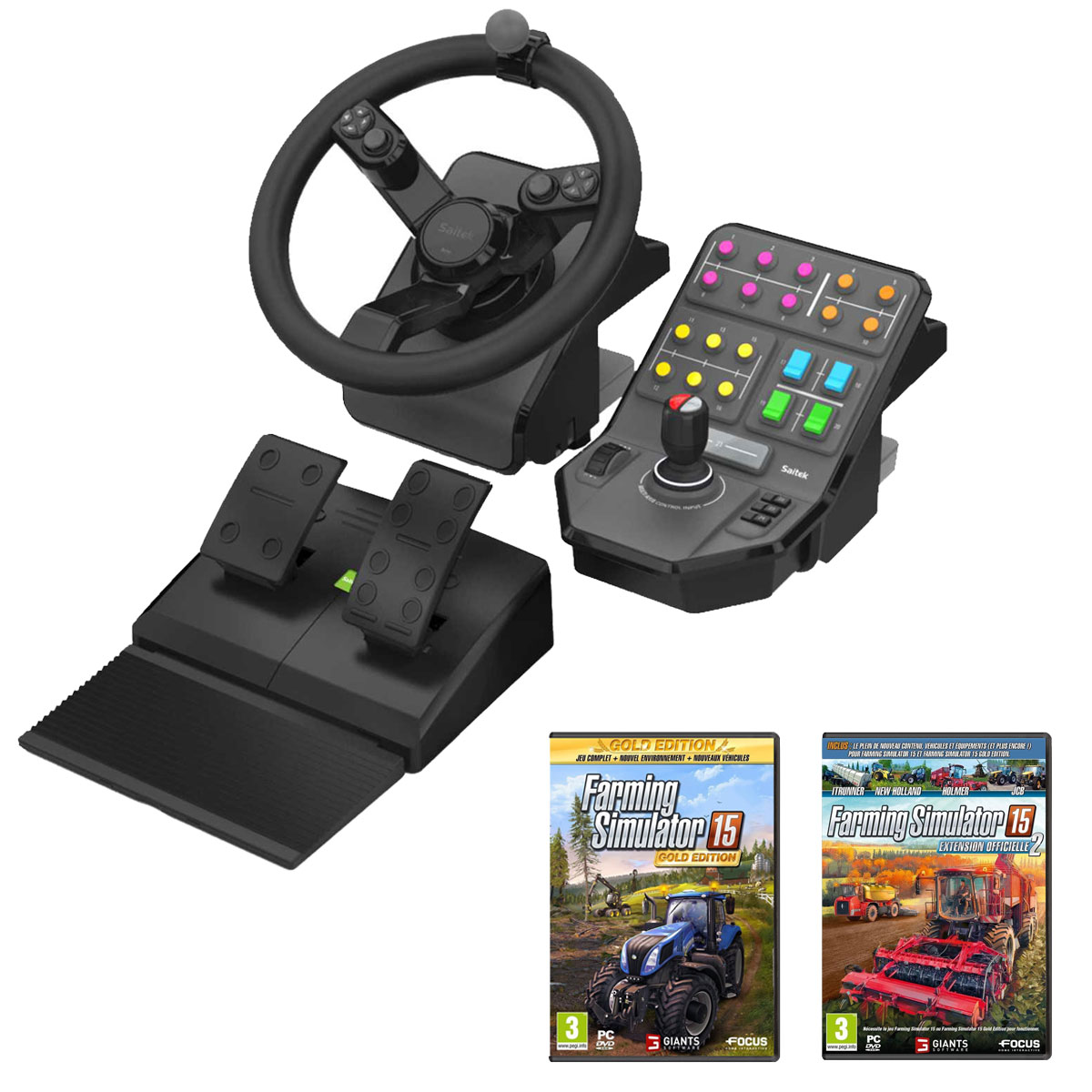 farming simulator 15 fan pack volant pc saitek sur ldlc. Black Bedroom Furniture Sets. Home Design Ideas