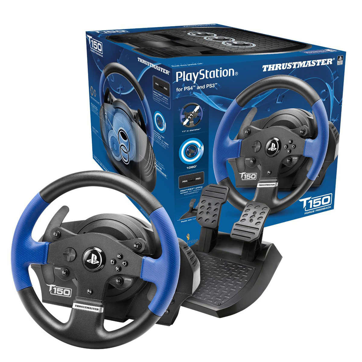 volant et pedalier thrustmaster t150 rs pour ps3 et ps4 autos post. Black Bedroom Furniture Sets. Home Design Ideas