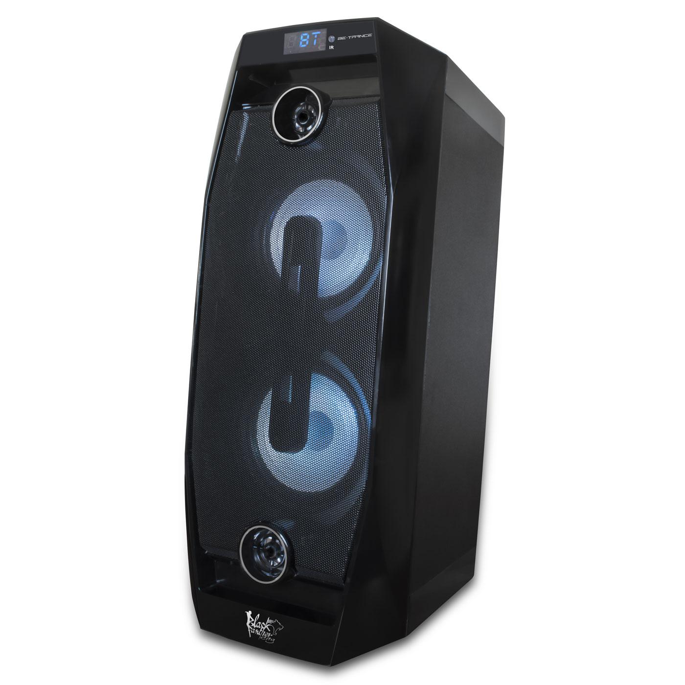 Dock & Enceinte Bluetooth Black Panther City Be-Trance Enceinte transportable sans fil Bluetooth avec USB, SD et micro karaoké