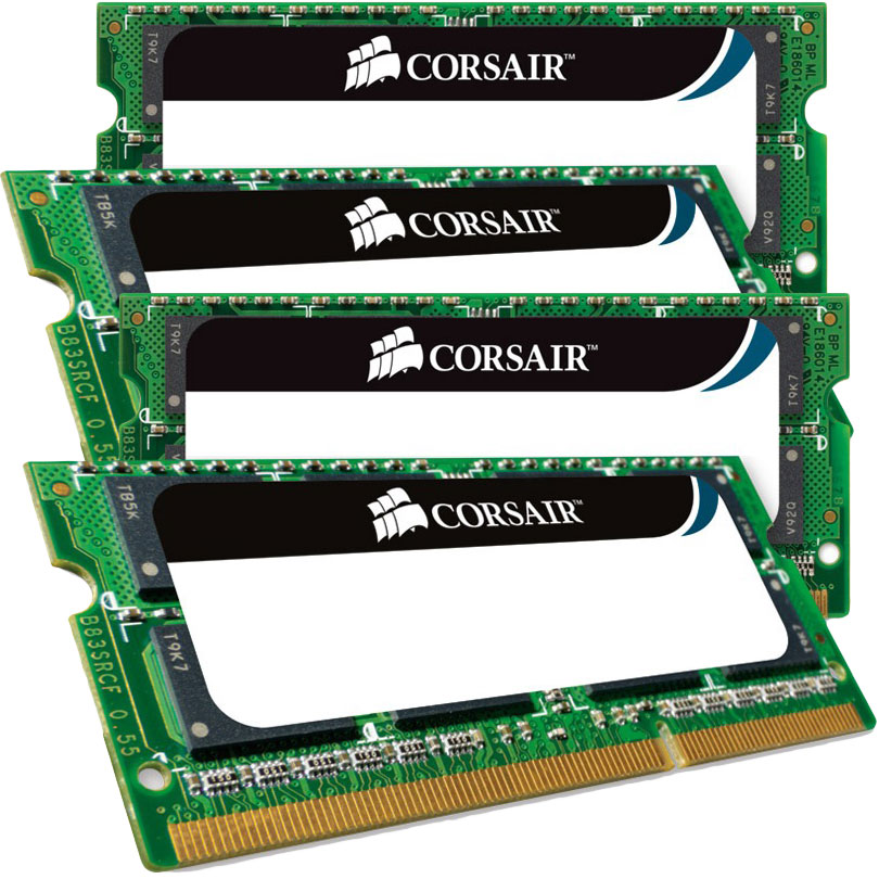 Mémoire PC portable Corsair Mac Memory SO-DIMM 32 Go (4 x 8 Go) DDR3 1866 MHz CL11 Kit Dual Channel RAM SO-DIMM DDR3 PC3-14900 - CMSA32GX3M4C1866C11 (garantie à vie par Corsair)