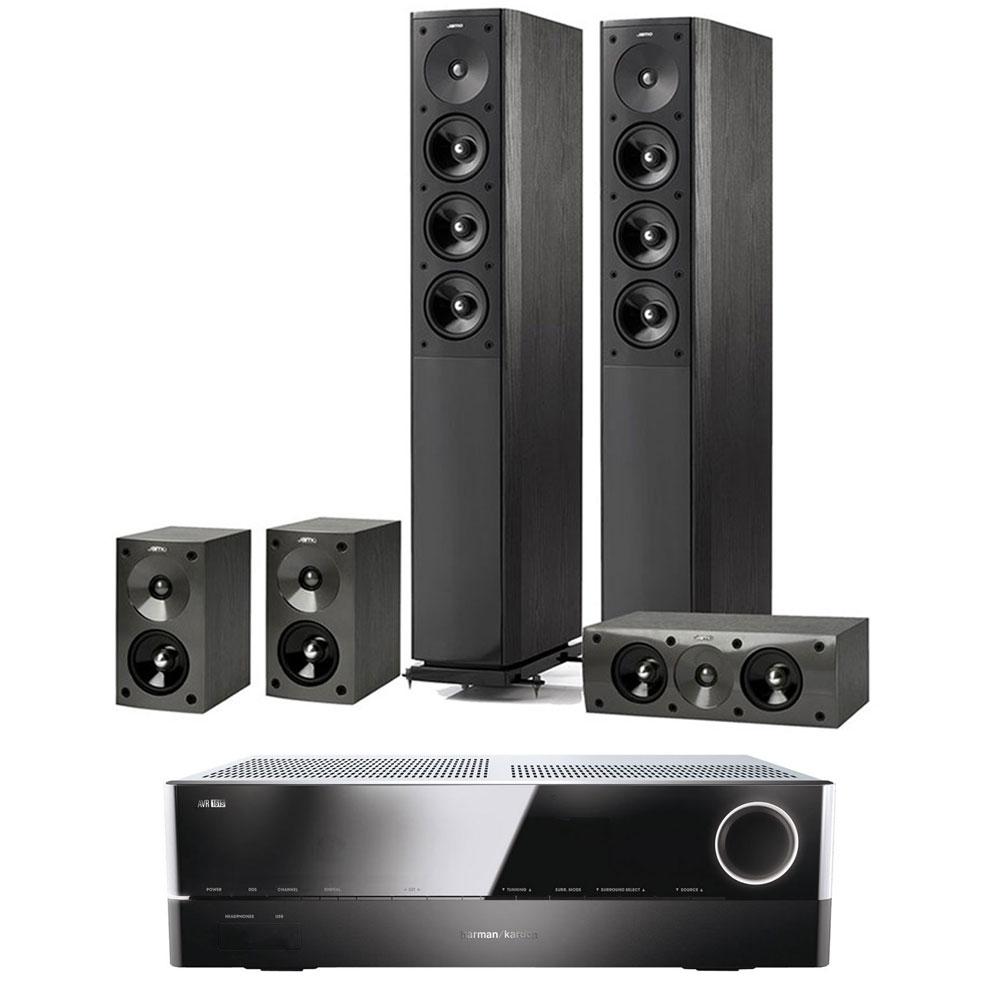Ensemble home cinéma Harman Kardon AVR 161S + Jamo S 608 HCS 3 Black Ash Ampli-tuner Home Cinema 3D Ready 5.1 DLNA avec HDMI 2.0 4K, Bluetooth, Spotify Connect + Pack d'enceintes 5.0