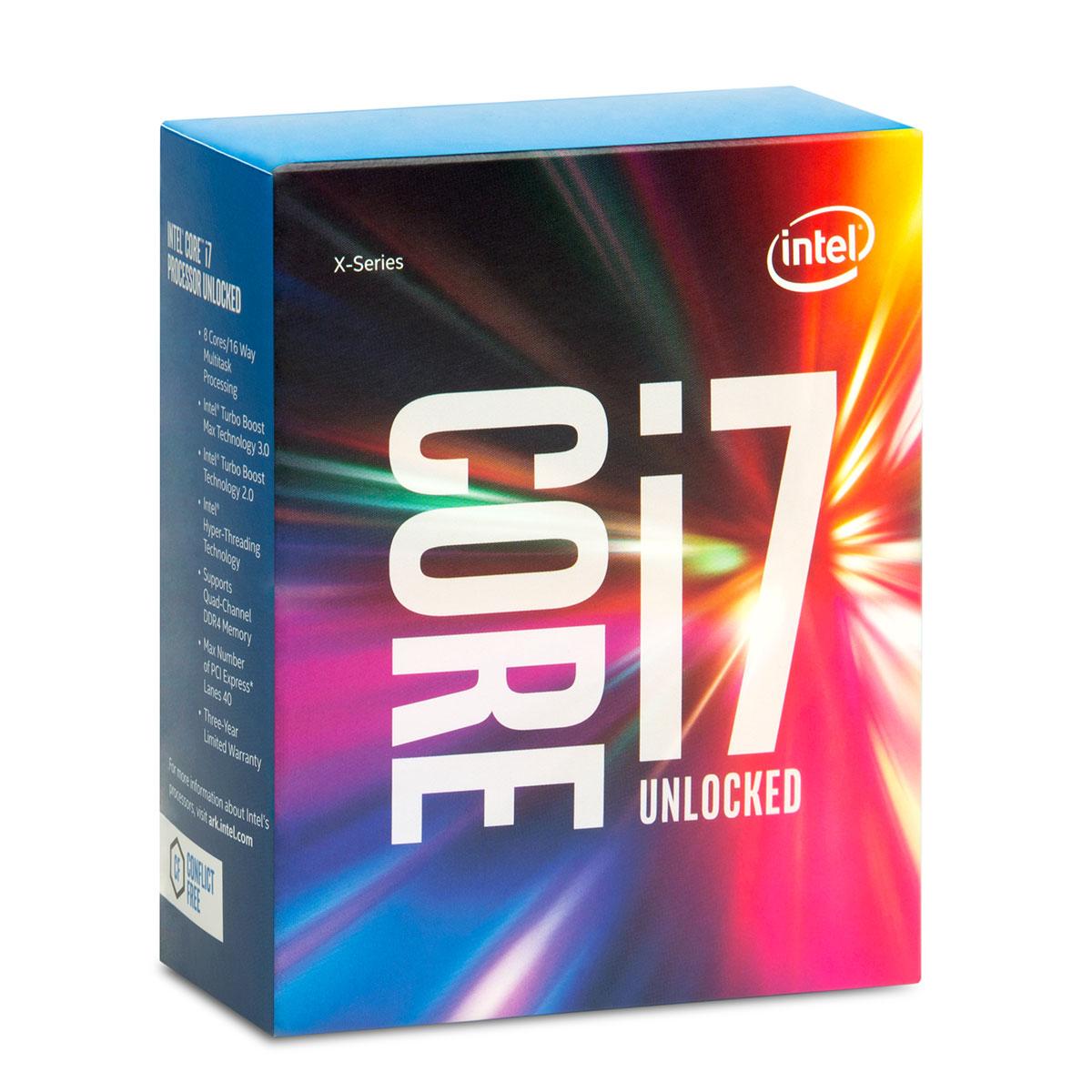 Processeur Intel Core i7-6900K (3.2 GHz) Processeur 8-Core Socket 2011-3 Cache L3 20 Mo 0.014 micron TDP 140W (version boîte sans ventilateur - garantie Intel 3 ans)