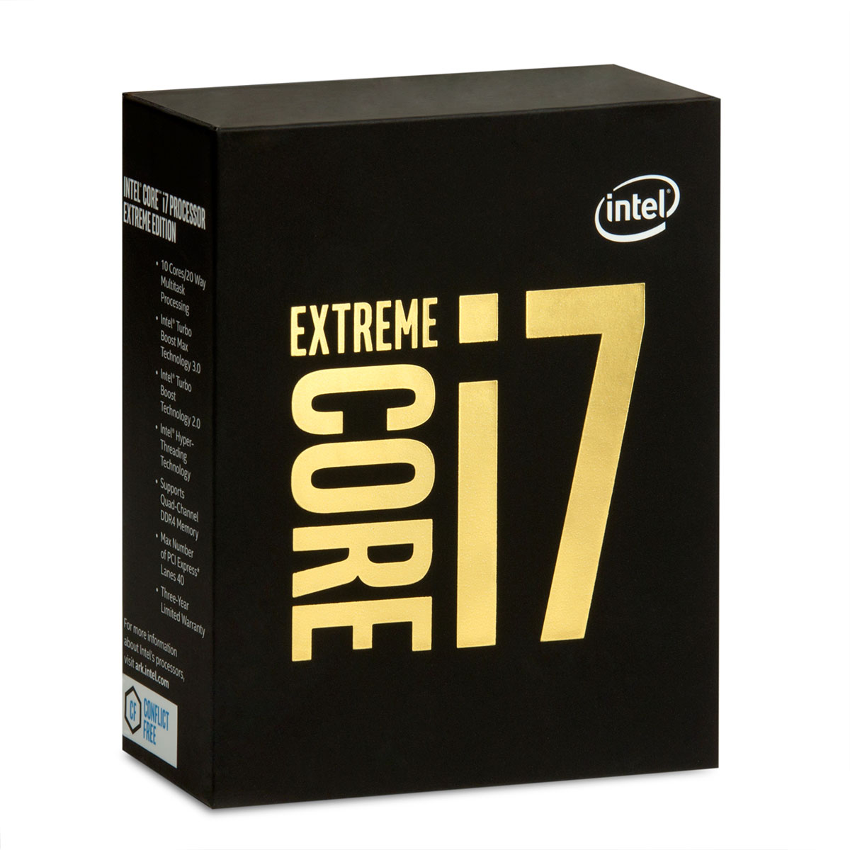 Processeur Intel Core i7-6950X Extreme Edition (3.0 GHz) Processeur 10-Core Socket 2011-3 Cache L3 25 Mo 0.014 micron TDP 140W (version boîte sans ventilateur - garantie Intel 3 ans)