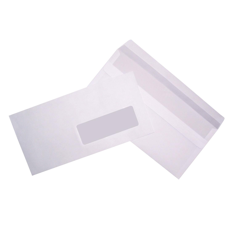 500 enveloppes dl autocollantes 80g fen tre 45x100 1357 for Enveloppe a fenetre