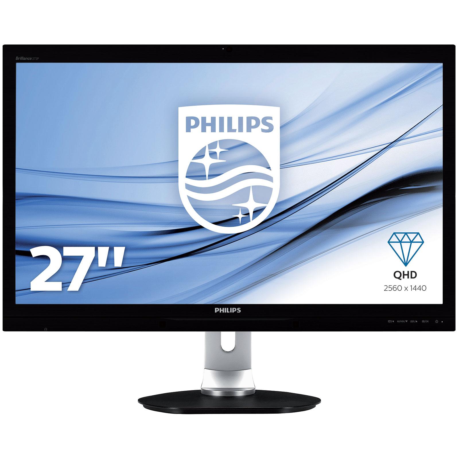 """Ecran PC Philips 27"""" LED - 272P4QPJKEB/00 2560 x 1440 pixels - Dalle PLS - 6 ms - Format 16/9 - DisplayPort - HDMI - DVI - Webcam - Noir"""