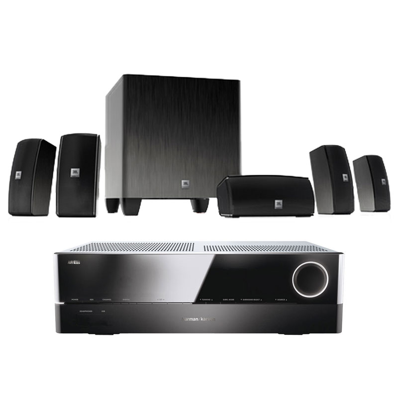 Ensemble home cinéma Harman Kardon AVR 161S + JBL Cinema 610 Ampli-tuner Home Cinema 3D Ready 5.1 DLNA avec HDMI 2.0 4K, Bluetooth, Spotify Connect + Ensemble 5.1