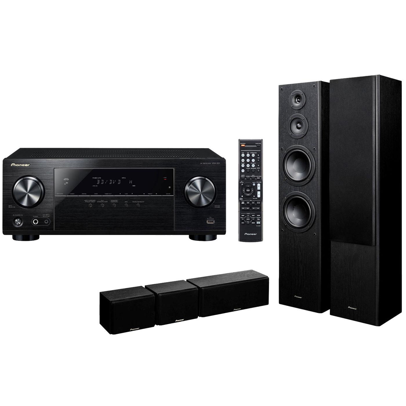 Ensemble home cinéma Pioneer VSX-531B + S-ES3TB Ampli-tuner Home Cinéma 5.1 Bluetooth, HDCP 2.2, et Upscaling Ultra HD 4K avec 4 entrées HDMI + Pack d'enceintes 5.0