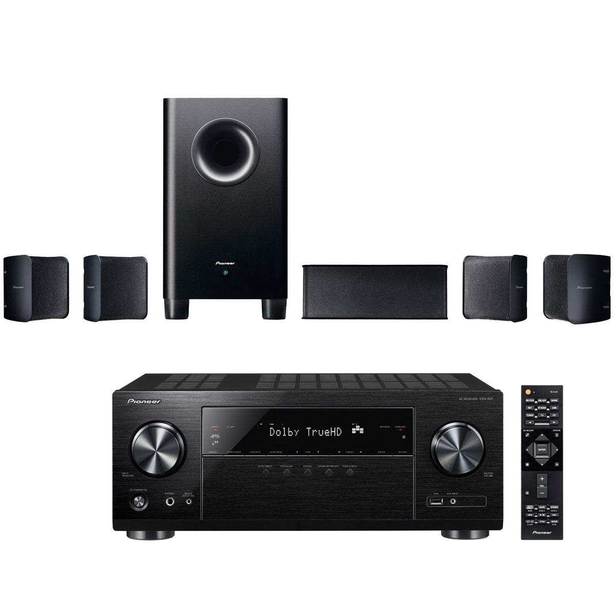 Ensemble home cinéma Pioneer VSX-831B + S-HS100 Ampli-tuner Home Cinéma 5.1 Bluetooth, Wi-FI, Airplay, Google Cast, DLNA, HDCP 2.2, TuneIn, Spotify, Tidal, Deezer et Upscaling Ultra HD 4K avec 6 entrées HDMI + Pack d'enceintes compactes 5.1