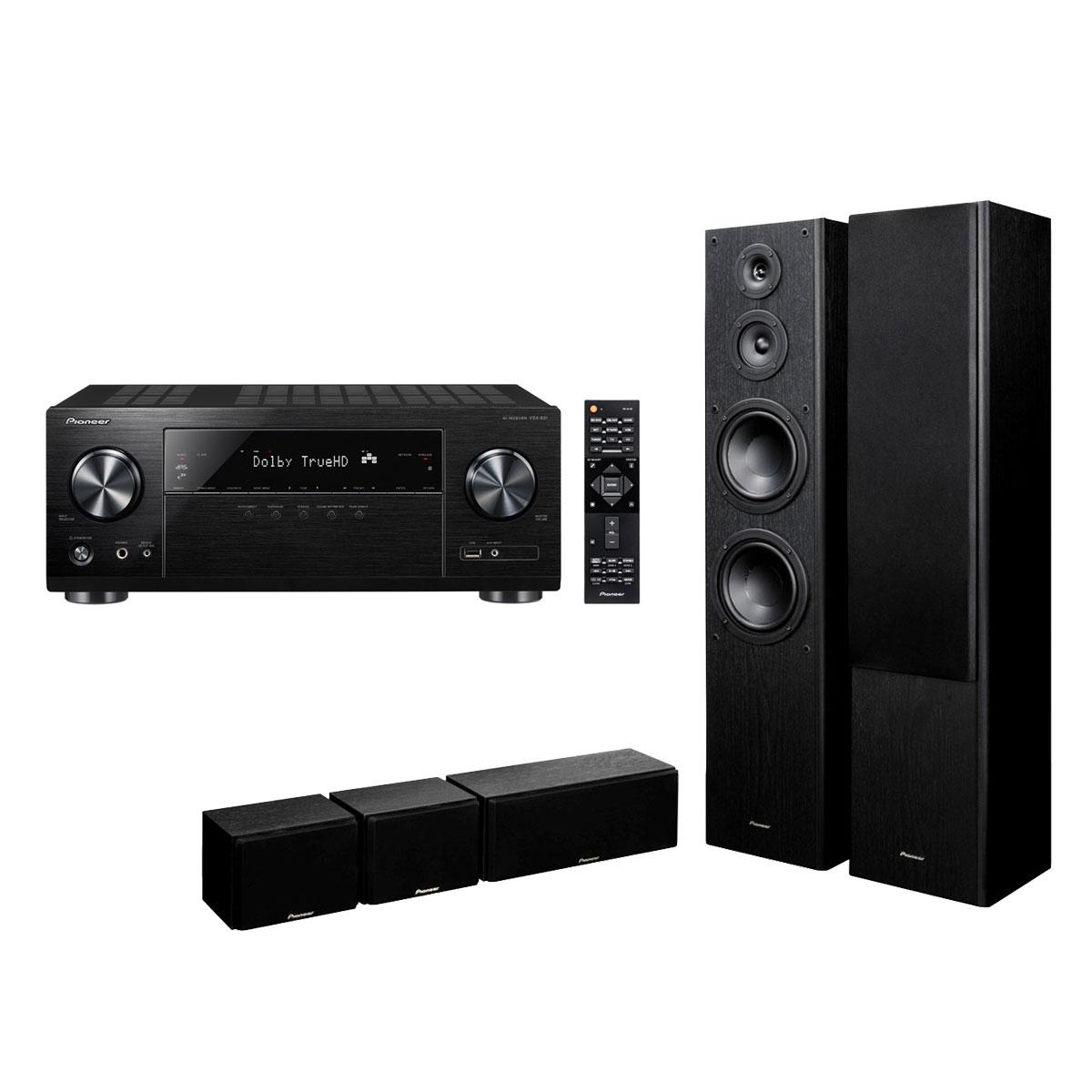 Ensemble home cinéma Pioneer VSX-831B + S-ES3TB Ampli-tuner Home Cinéma 5.1 Bluetooth, Wi-FI, Airplay, Google Cast, DLNA, HDCP 2.2, TuneIn, Spotify, Tidal, Deezer et Upscaling Ultra HD 4K avec 6 entrées HDMI + Pack d'enceintes 5.0