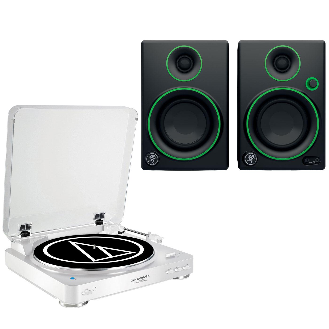 """Ensemble Hifi Audio-Technica AT-LP60BT Blanc + Mackie CR3 Platine vinyle à 2 vitesses (33-45 trs/min) avec fonction Bluetooth + Enceintes de monitoring 3"""" (par paire)"""