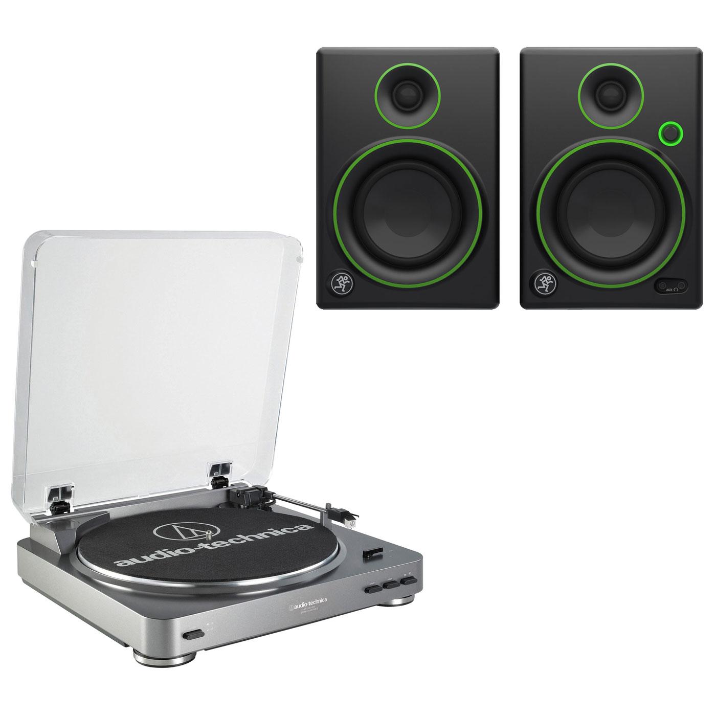 """Platine vinyle Audio-Technica AT-LP60USB + Mackie CR4 Platine vinyle à 2 vitesses (33-45 trs/min) + Enceintes de monitoring 4"""" (par paire)"""