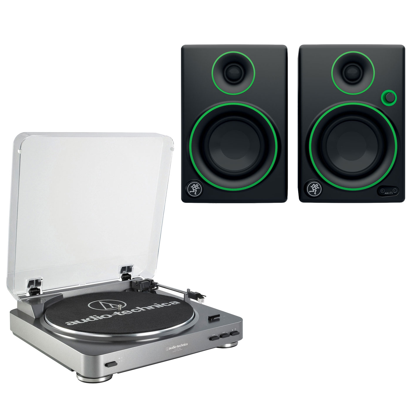 """Platine vinyle Audio-Technica AT-LP60USB + Mackie CR3 Platine vinyle à 2 vitesses (33-45 trs/min) + Enceintes de monitoring 3"""" (par paire)"""