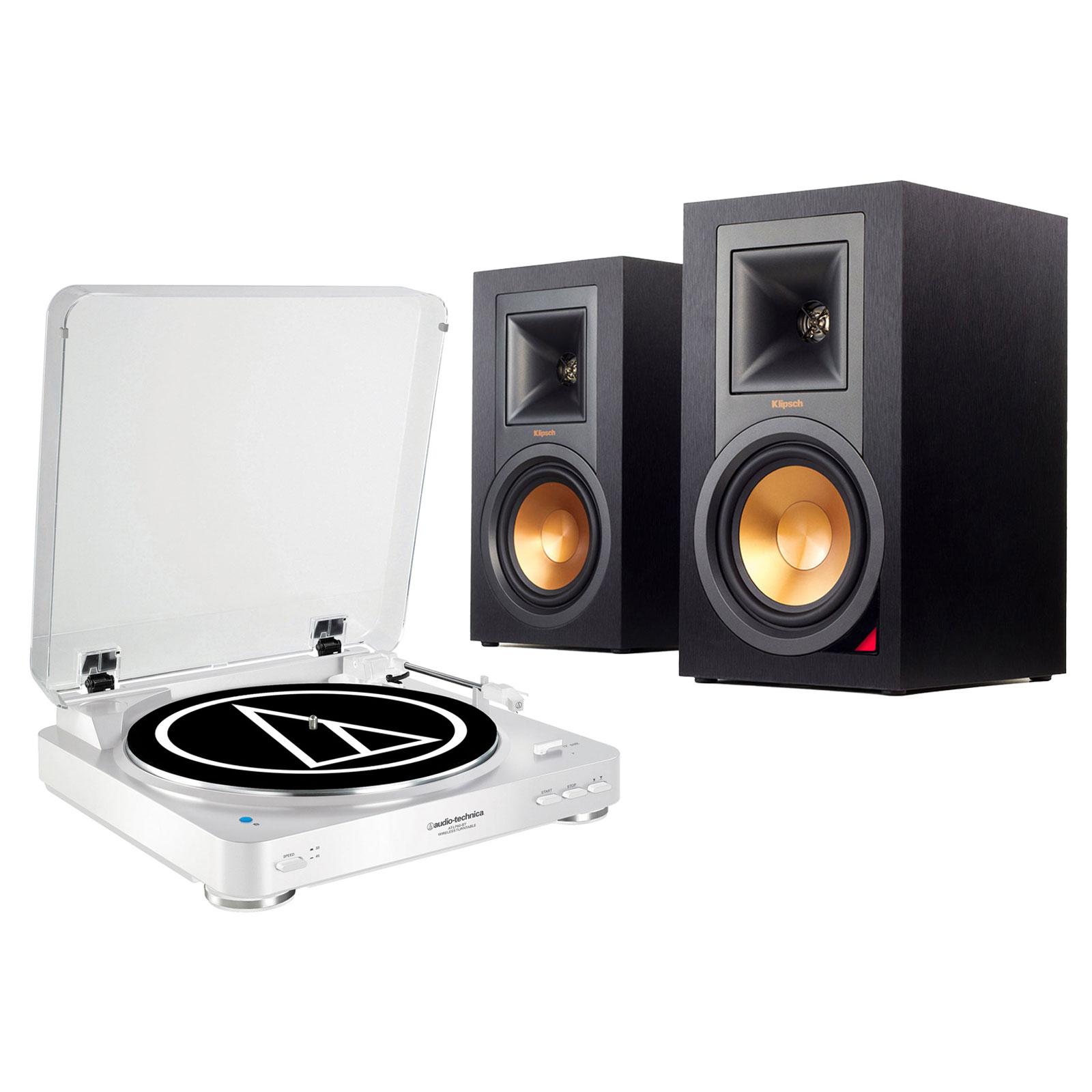 Ensemble Hifi Audio-Technica AT-LP60BT Blanc + Klipsch R-15PM Platine vinyle à 2 vitesses (33-45 trs/min) avec fonction Bluetooth + Enceinte bilbiothèque (par paire)