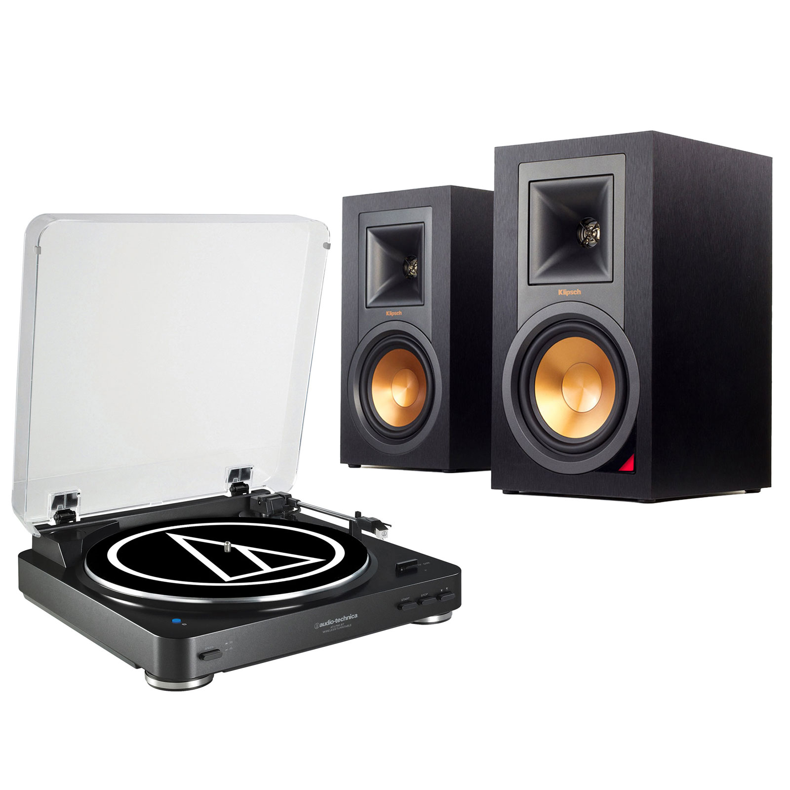 Ensemble Hifi Audio-Technica AT-LP60BT Noir + Klipsch R-15PM Platine vinyle à 2 vitesses (33-45 trs/min) avec fonction Bluetooth + Enceinte bilbiothèque (par paire)
