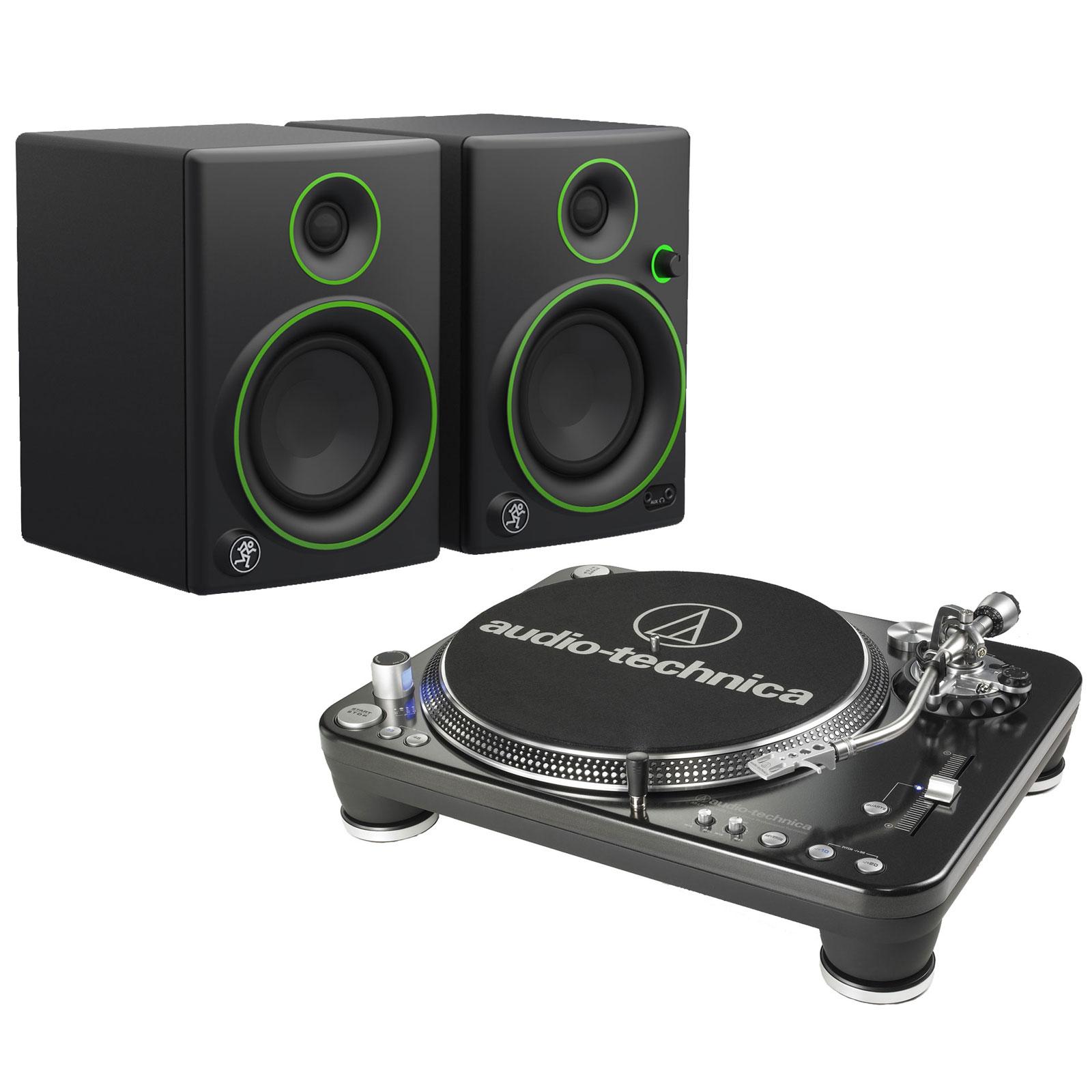 """Platine vinyle Audio-Technica AT-LP1240USB + Mackie CR4 Platine vinyle à 3 vitesses (33-45-78 trs/min) avec port USB + Enceintes de monitoring 4"""" (par paire)"""