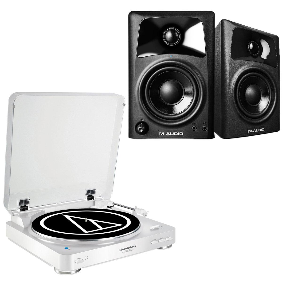 Ensemble Hifi Audio-Technica AT-LP60BT Blanc + M-Audio AV 42 Platine vinyle à 2 vitesses (33-45 trs/min) avec fonction Bluetooth + Enceintes de monitoring actives 2.0