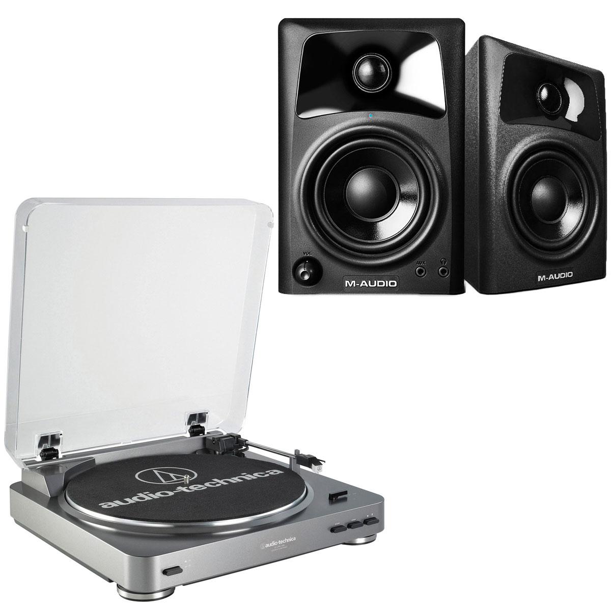 Platine vinyle Audio-Technica AT-LP60USB + M-Audio AV 42 Platine vinyle à 2 vitesses (33-45 trs/min) + Enceintes de monitoring actives 2.0