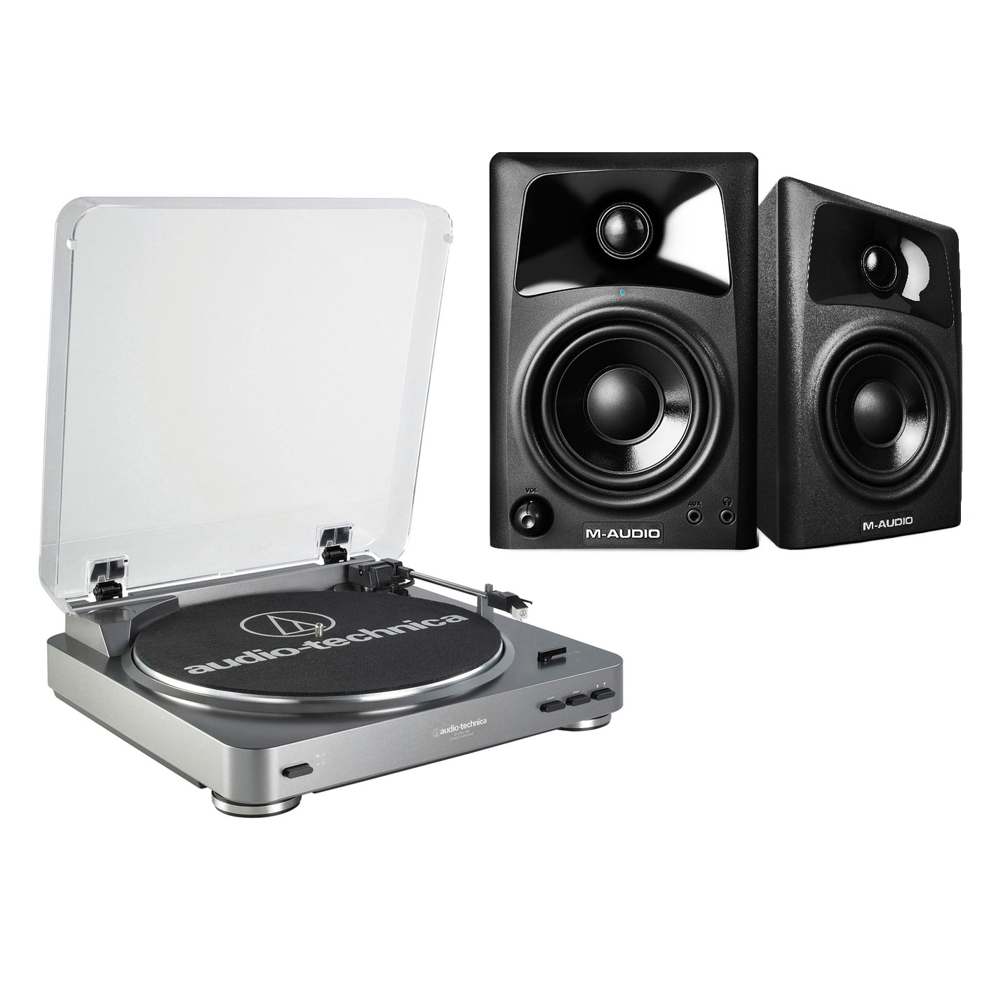 Platine vinyle Audio-Technica AT-LP60USB + M-Audio AV 32 Platine vinyle à 2 vitesses (33-45 trs/min) + Enceintes de monitoring actives 2.0